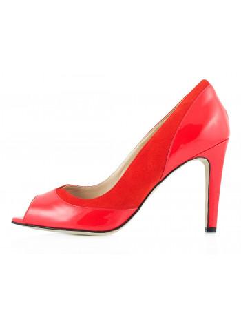 10027 GUBAN (Romania) Туфли Открытые Лаково-Замшевые Красные