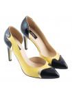10028 GUBAN (Romania) Туфли Открытые Кожано-Лаковые Желто-Черные