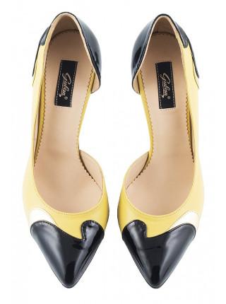 Туфли открытые кожано-лаковые GUBAN (Romania) 10028 желто-черные