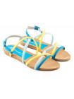Босоножки кожаные XSA (ИТАЛИЯ) 10046 желто-голубо-синие
