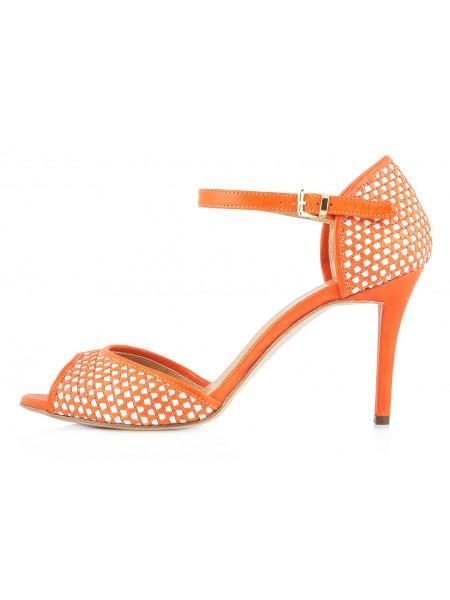 Туфли открытые кожаные LADY DOC (ИТАЛИЯ) 10090 оранжево-белые