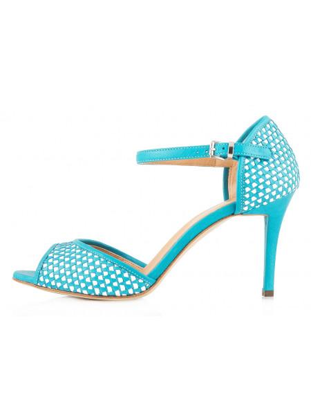 Туфли открытые кожаные LADY DOC (ИТАЛИЯ) 10091 бирюзово-белые