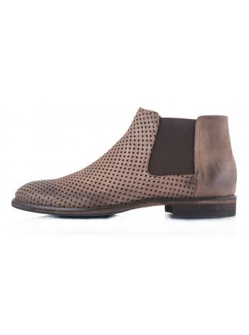 Ботинки осенние нубуковые сетка сквозная OFFICINE FIORENTINE (ИТАЛИЯ) 2316 коричневые