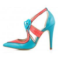 10114 INDIANA (Brazil) Туфли открытые бирюзово-кораловые