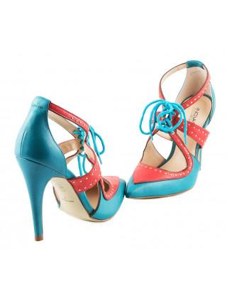 Туфли открытые кожаные INDIANA (Brazil) 10114 бирюзово-коралловые