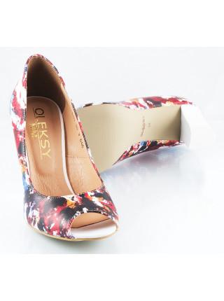Туфли открытые кожаные OLEXY (Poland ) 10181 бело-красные