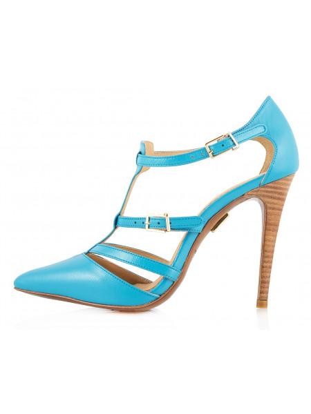 Туфли открытые кожаные J.J.HEITOR SHOES (Portugal) 10186 голубые