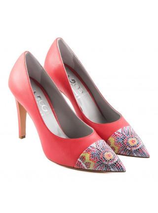 Туфли кожаные 1,618 (ИТАЛИЯ) 10135 кораллово-разноцветные