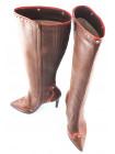 10326 GUBAN (Romania) Сапоги осенние кожаные коричнево-коралловые