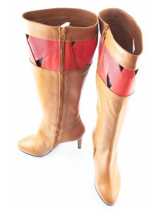 10327 GUBAN (Romania) Сапоги осенние кожаные светло-коричнево-коралловые