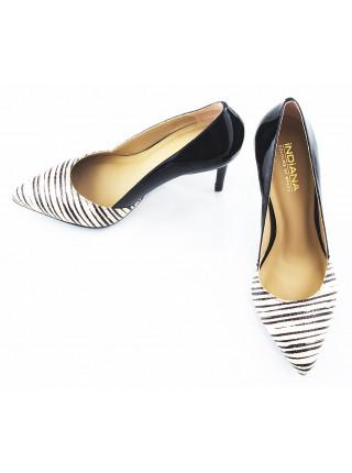 Туфли лаковые INDIANA (Brazil) 10343 черно-бежевые