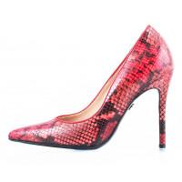 10371 RYLKO (Poland ) Туфли кожаные красно-бордово-черные рептилия