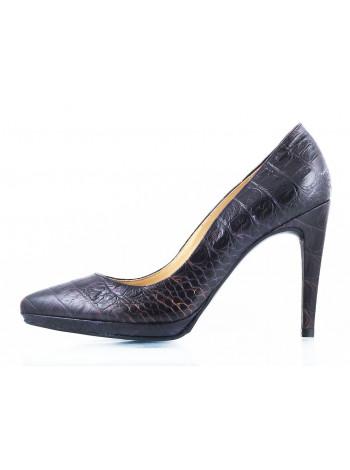 10382 RYLKO (Poland ) Туфли кожаные темно-синие рептилия