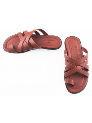 Шлепки кожаные DANIELE POLIDORI (ИТАЛИЯ) 2589 коричневые