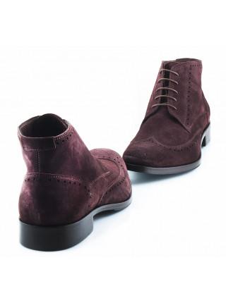 Ботинки-броги осенние замшевые ADOLFO CARLI (ИТАЛИЯ) 2641 темно-коричневые