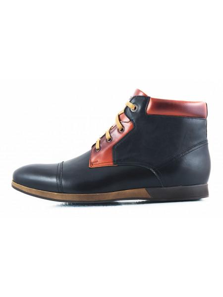 2686 CONHPOL (Poland ) Ботинки-спорт осенние кожаные черно-коричневые