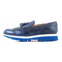 2723 BEFEETGERALD (Italy) Лоферы кожаные синие