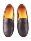 2763 GIANROS (Italy) Мокасины кожаные коричневые