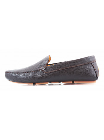 Мокасины кожаные GIANROS (ИТАЛИЯ) 2763 коричневые