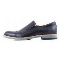 2813 CONHPOL (Poland ) Туфли кожаные темно-синие на резинке