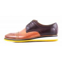2846 CONHPOL (Poland ) Туфли-спорт кожаные светло-коричнево-темно-коричневые