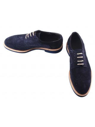 Туфли-броги замшевые BEFEETGERALD (ИТАЛИЯ) 2871 темно-синие