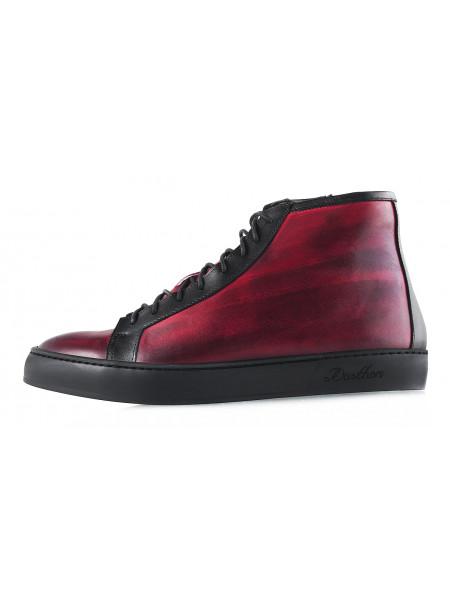 2974 DASTHON (Italy) Ботинки-спорт зимние кожаные бордово-черные