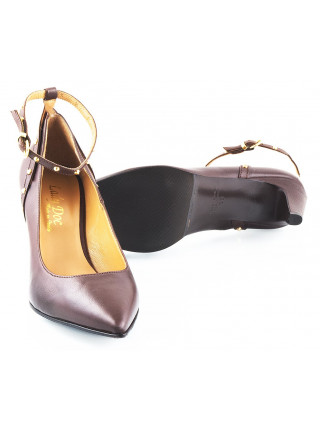 Туфли кожаные LADY DOC (ИТАЛИЯ) 10466 темно-коричневые