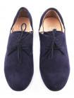 10495 CAPRICE (Germany) Туфли-дерби замшевые сетка несквозная темно-синие на шнуровке