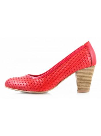 10502 JANA (Germany) Туфли кожаные красные с несквозной перфорацией