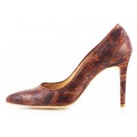 10520 RYLKO (Poland ) Туфли кожаные коричневые рептилия