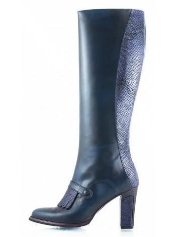 10540 HISTORY (Italy) Сапоги весенние кожано-замшевые синие