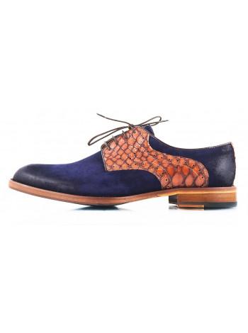 Туфли замшево-кожаные CONHPOL DYNAMIC (Poland ) 2475 темно-сине-коричневые