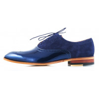 Туфли замшево-лаковые CONHPOL DYNAMIC (Poland ) 2485 темно-синие