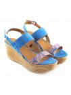 10583 TAMARIS (Germany) Босоножки замшево-текстильные голубые на платформе