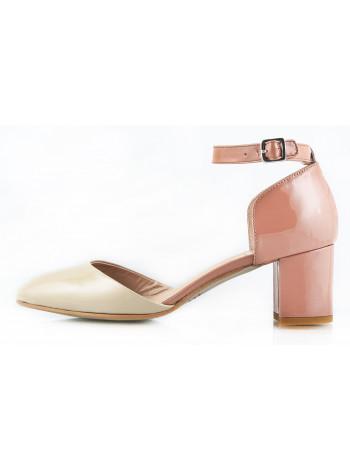 10624 MALLY (Italy) Туфли открытые лаковые бежево-темно-бежевые
