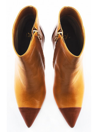 Полусапожки весенние кожаные NOE (Italy) 10650 горчично-коричневые