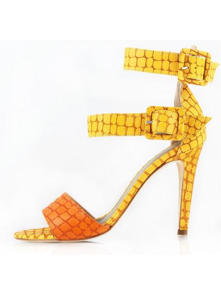 Босоножки кожаные NOE (ИТАЛИЯ) 10659 желто-рыжие