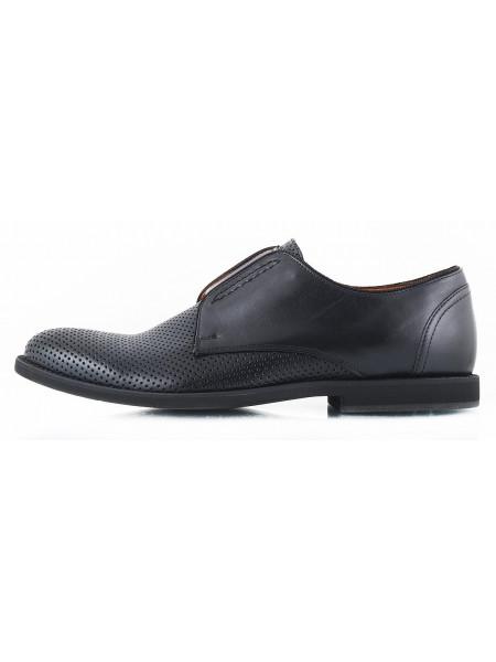 2540 CONHPOL (Poland) Туфли сетка кожаные черные на резинке