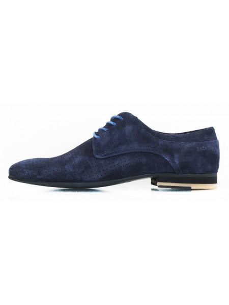 Туфли замшевые сетка сквозная BADURA (Poland ) 2560 темно-синие