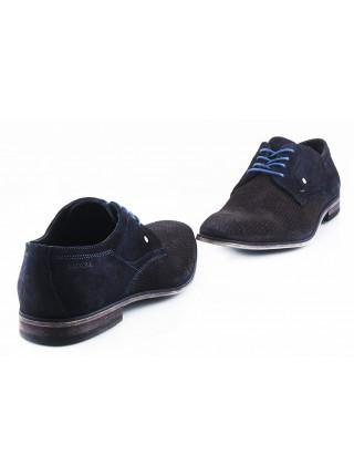 Туфли замшевые сетка сквозная BADURA (Poland ) 2561 темно-синие