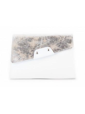 5908 BEFEETGERALD (Italy) Сумка-клатч кожано-замшевая с серебристым напылением 26х18 см