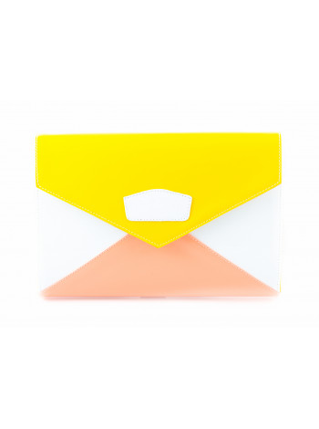 5911 BEFEETGERALD (Italy) Сумка-клатч лаковая трехцветная 28х19 см