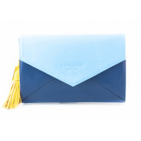 5912 BEFEETGERALD (Italy) Сумка-клатч кожаная двухцветная 28х19 см