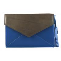 5913 BEFEETGERALD (Italy) Сумка-клатч кожаная двухцветная 28х19 см