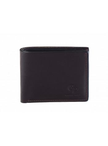 7445  GRANDE PELLE (Italy) Портмоне кожаный темно-коричневый матовый 9х11см